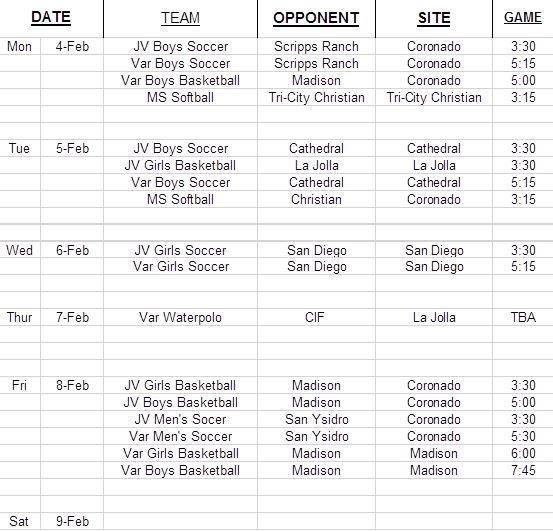 Feb Calendar 2019.Sports Calendar Feb 4 9 2019 Coronado Times