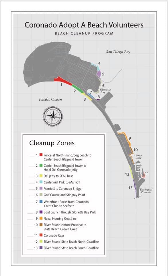 Coronado Adopt a Beach zones