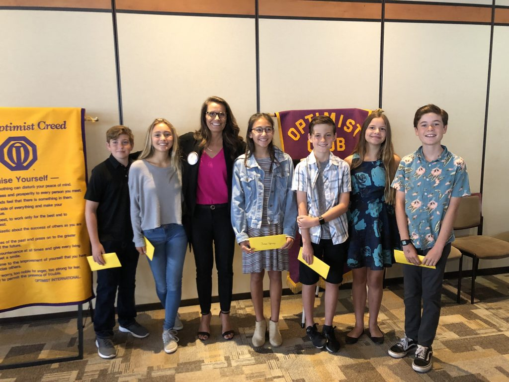 Karin Mellina with Student Optimists of the Year