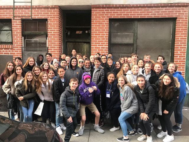 CMS Principal of the Year Karin Mellina amongst the 8th Graders in NYC