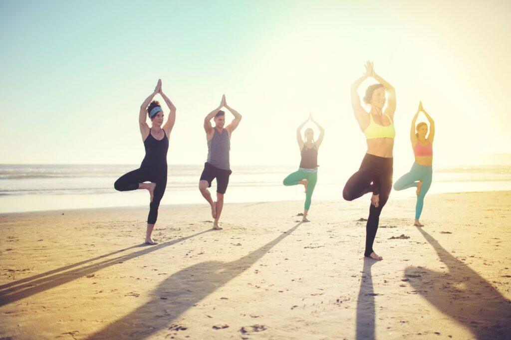 beach yoga at the Del
