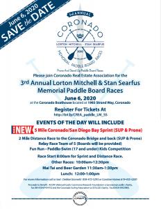 3rd Annual Coronado Lorton Mitchel and Stan Searful Memorial Paddle Board Races