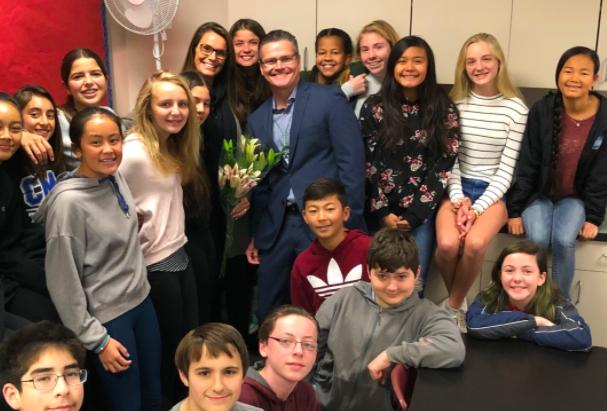 Karl Mueller and school kids