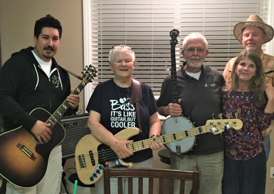 The Rovers: Danny Garing, Patsy Brichta, Doug Weisbarth, Yvonne Cubberly and Bill Cubberly
