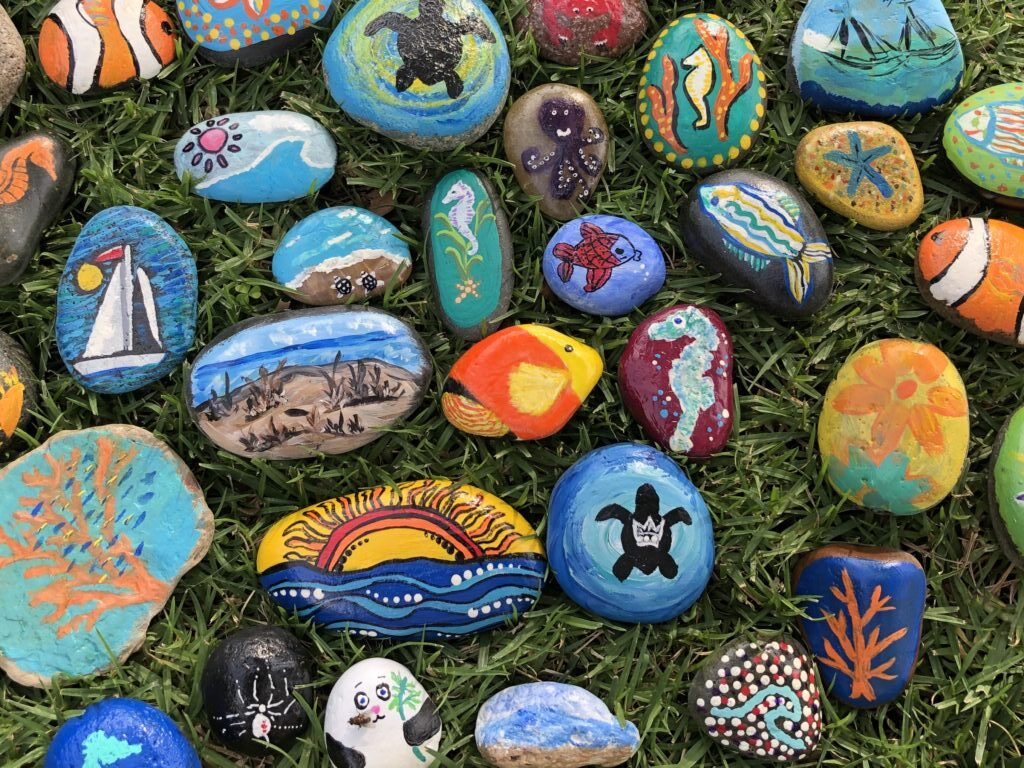 Emerald Keepers painted rocks
