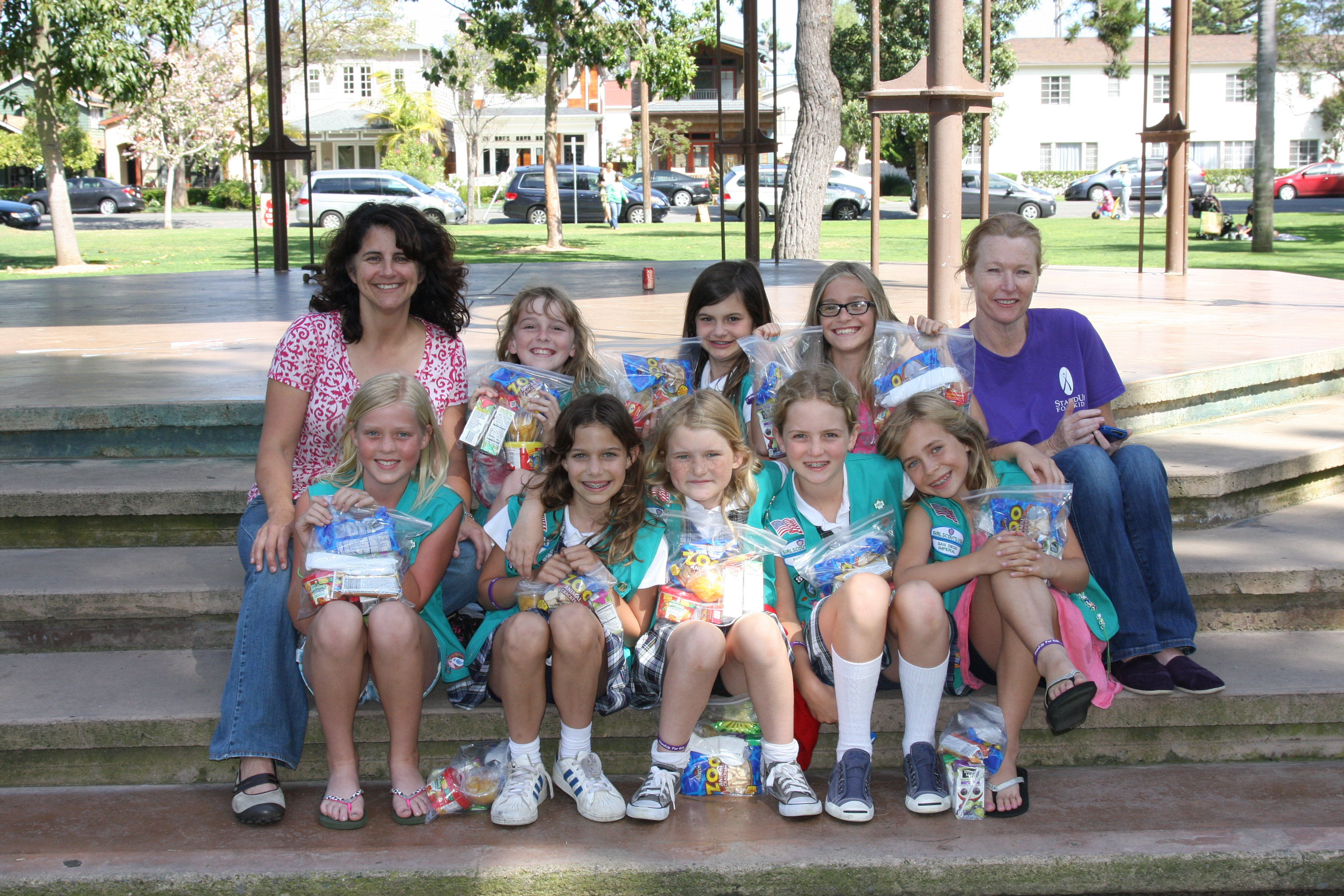 coronado junior girl scout troop 801 donates to standup
