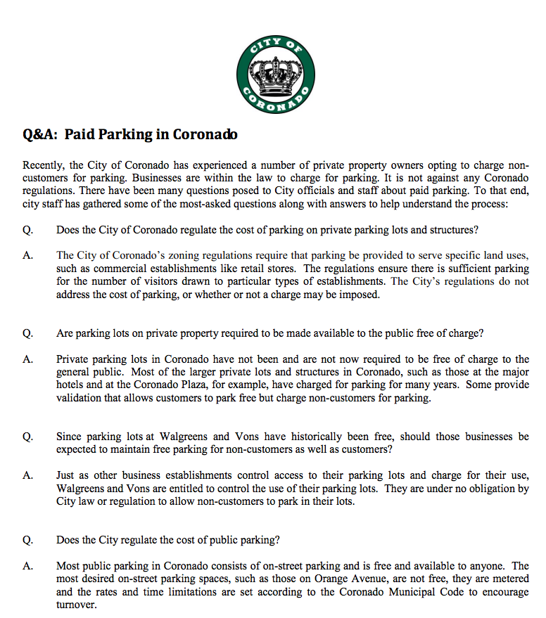 What are some general laws regarding parking?